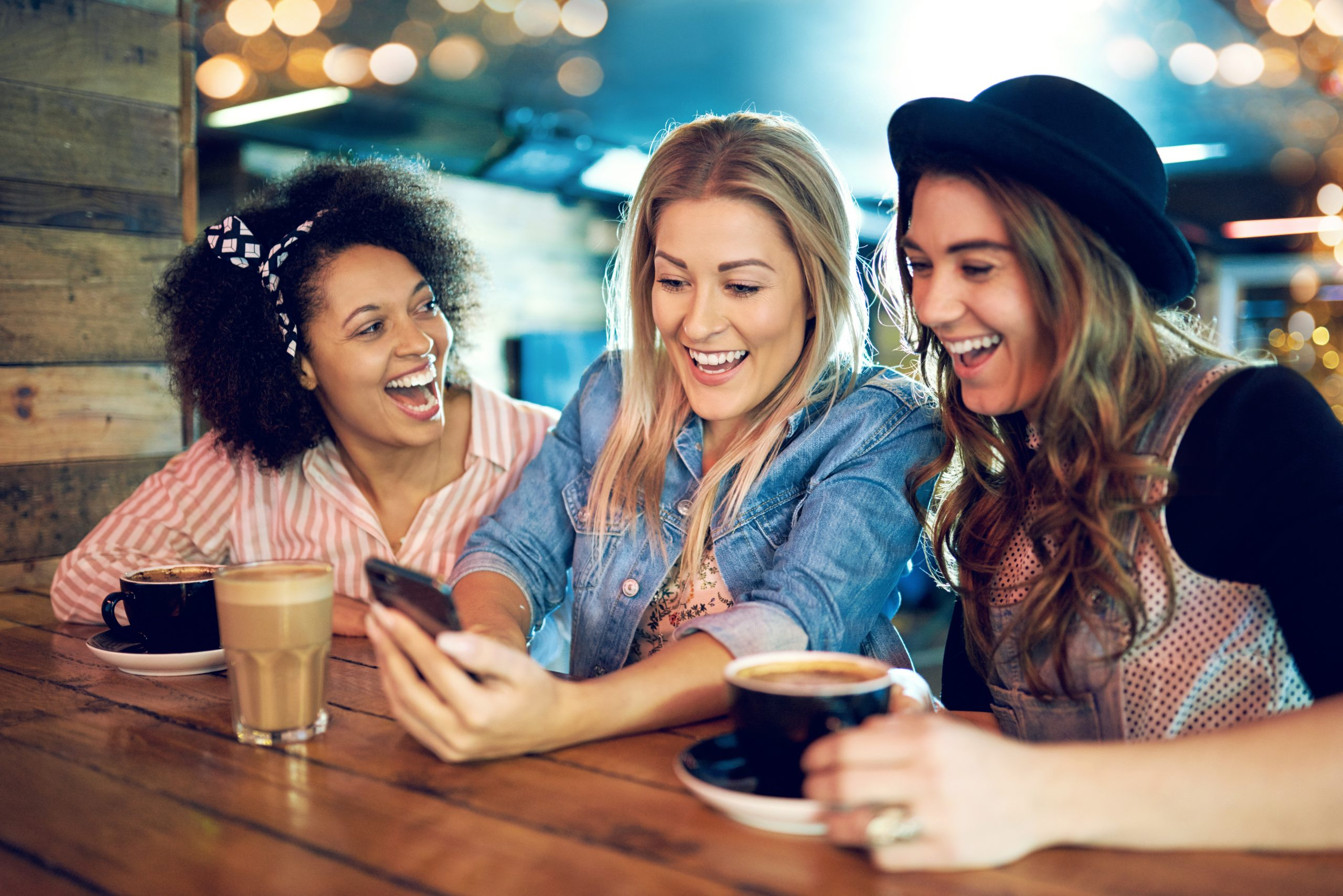 group of young women at coffee shop